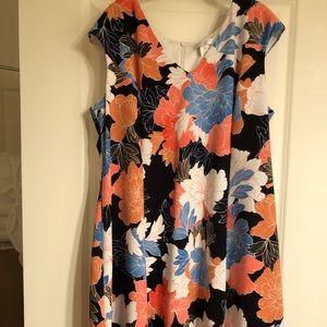 V-neck flower print fit & flare dress